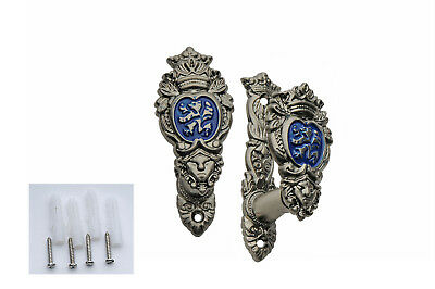 "WALL-HANGER DISPLAY Blue 3"" Lion Shield Coat of Arms - Sword, Knife, Gun"