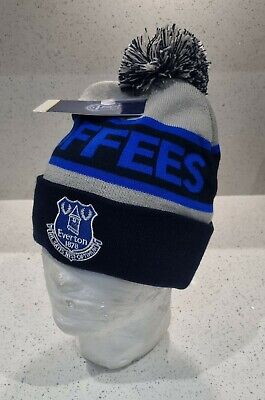 Official Everton Adults Toffees bobble Hat Navy and Grey - Great Gift Idea!