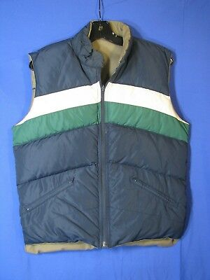 VTG WINDBREAKER Brand GOOSE DOWN PUFFY SKI VEST Reversible BLUE/KHAKI Mens S