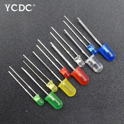 100Pcs 3Mm/5Mm Assorted Color 2-Pin Diffused Led Light Emitting Diodes Pack 120°