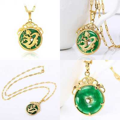 Chinese AAA Tibet GOLD GREEN Jade Dragon Malay Pendant Necklace & Pendants Pende