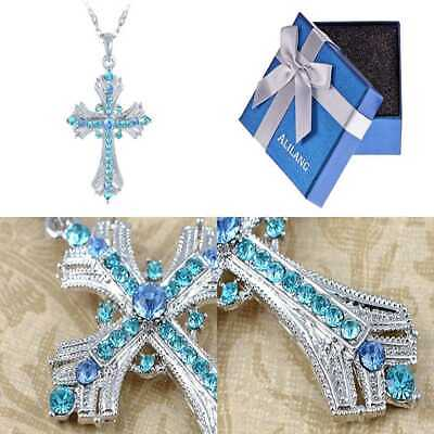Silvery Tone Religious Cross Pendant Necklace W/AQUAMARINE BLUE Or Clear Cr