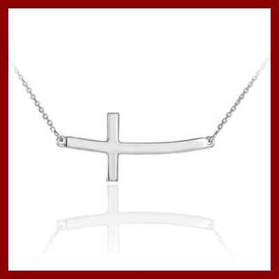"""925 STERLING SILVER Curved Pendant Sideways Cross Necklace W 18"""" Rol Silver"""