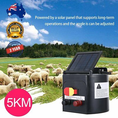 5km 0.15J Solar Power Electric Fence Energiser Charger for Poly Wire Tape Posts