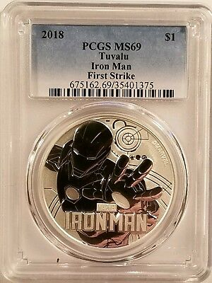 2018 Tuvalu Marvel Iron Man 1oz .999 Fine Silver Bullion PCGS MS69 First Strike