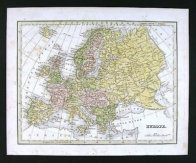 1835 Bradford Map - Europe - Spain Italy Greece France Germany Britain Holland