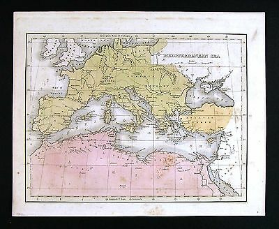1835 Bradford Map - Mediterranean Sea - Europe Morocco Africa Turkey Spain Italy