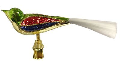 Rainbow Color Bird with Spun Glass Tail Czech Christmas Tree Clip On Ornament