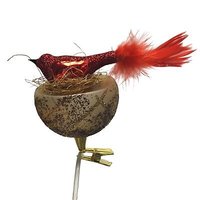 Red Feather Tail Bird on Nest Czech Glass Christmas Tree Clip On Ornament Animal