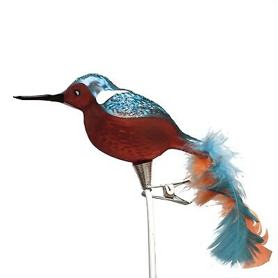 Long Beak Blue Orange Bird Feather Tail Czech Glass Christmas Clip On Ornament