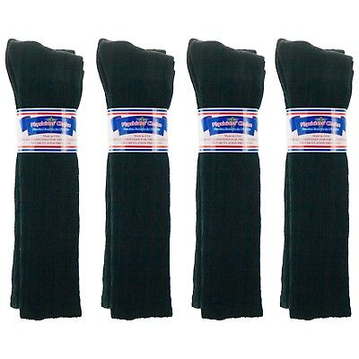 12 Pair Knee High Black Physician's Choice Over The Calf Diabetic Socks 13-15