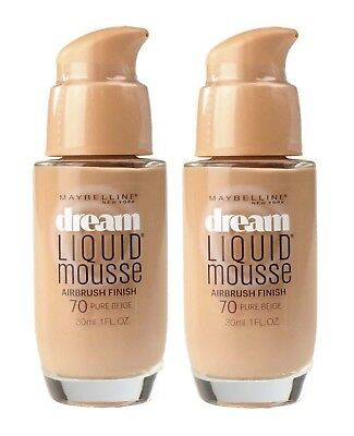 2 X MAYBELLINE 30mL DREAM LIQUID MOUSSE FOUNDATION 70 PURE BEIGE