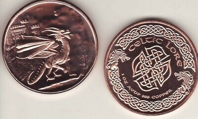 WELSH RED DRAGON   1 oz. Copper Round coin  CELTIC LORE SERIES