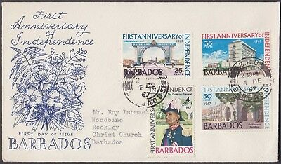 BARBADOS 1967 1st ANNIVERSARY OF INDEPENDENCE 4v SET ON COVER TO CHRIST CHURCH