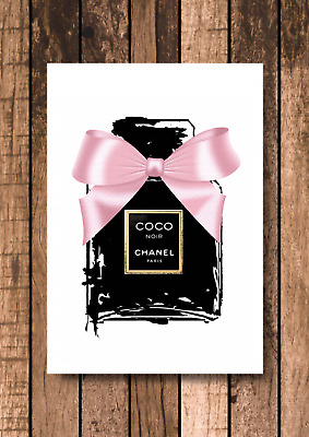 Pink Bow Coco Chanel Perfume Print - A4 - Quote, decor, Living room wall art