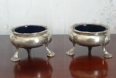 Antique George Ii, English Sterling Silver Cauldron Salts Hallmarked London 1751
