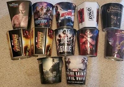 Lot of 12 marvel and dc popcorn movie tins avengers guardians wonder woman