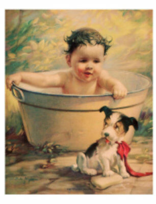 Vintage Image Nursery Baby Bath Metal Tub Puppy Transfer Waterslide Decal~BAB655