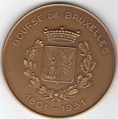 1951 Belgium Medal for 150 Year Anniversary of Bourse, Brussels,  by Fischweiler