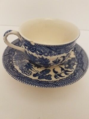 Blue Willow Japanese Tea Cup and Saucer