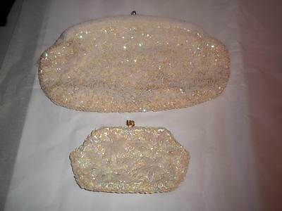 "Purse La Regale Beaded handbag and Coin Purse 10.5"" by 6"" Off White Hong Kong"