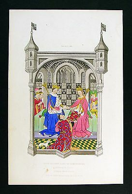 1843 Shaw Print John Talbot Earl of Shrewsbury Presenting Book to Queen Margaret