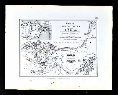 1855 Johnston Military Map Napoleon Egypt Syria Battle of Aboukir Pyramids Nile