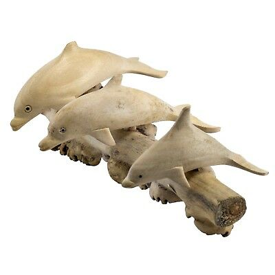"Three Dolphins Hand Carved Parasite Wood Carving Figurine Sculpture 7.25"" Long"