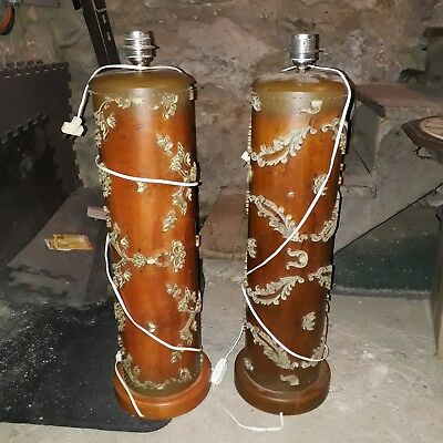Set Of Two Rare Ornate Solid Wood Antique Lamps With Shades