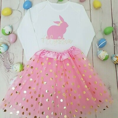 Personalised Easter Bunny outfit Top Baby girls Fancydress Ears Tutu Cake smash