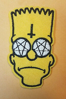 The Simpsons Bart Simpson Head Anarchy Supernatural Satin Patch 3 inches tall