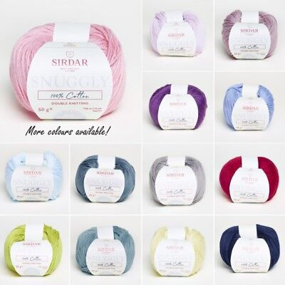 Sirdar Snuggly 100% Cotton Double Knitting Baby Knit DK Yarn Craft Wool 50g Ball