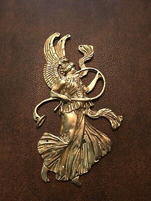 Antique French bronze ormolu large winged  classical lady playing horn