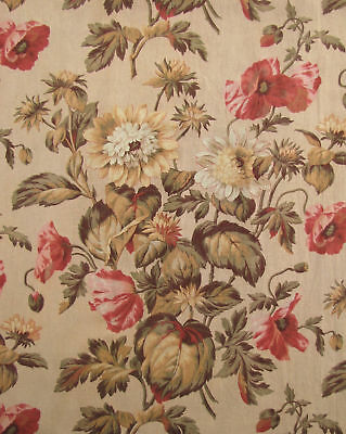 Drape French antique botanical curtain textile ~ 8 feet long ~ fabric material