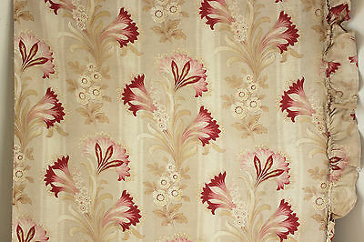 Antique French curtain drape c 1910 ~ lovely large scale faded tones ~w/ ruffle