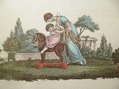 RARE cpa illustrateur cheval à roulette jouet ancien postcard antique toy horse