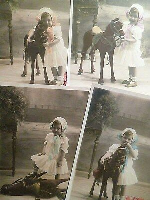 lot 4 cpa jouet ancien cheval à roulettes postcard antique toy horse carte ak pk