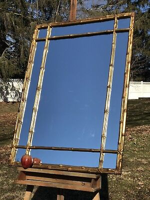 Mid Century Faux Bamboo Gold Gilt Mirror Hollywood Regency Large Vintage