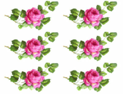 Vintage Image Shabby Pink Bavarian Single Rose Swag Waterslide Decals FL422