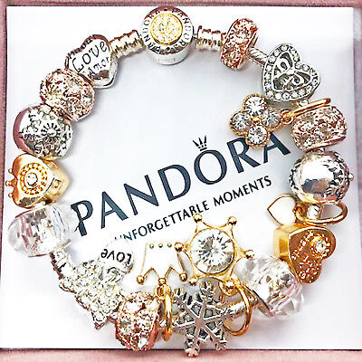 """Authentic PANDORA Silver Bracelet with """"Love"""" Silver/Gold Charms"""