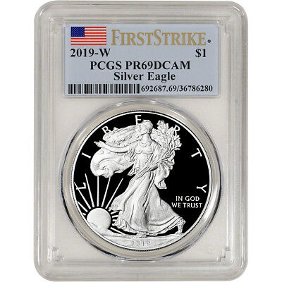 2019-W American Silver Eagle Proof - PCGS PR69 DCAM First Strike Flag Label