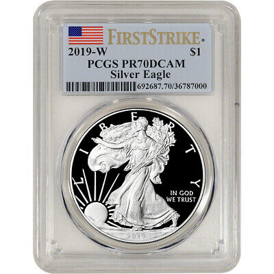 2019-W American Silver Eagle Proof - PCGS PR70 DCAM First Strike Flag Label