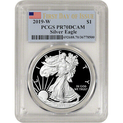 2019-W American Silver Eagle Proof - PCGS PR70 DCAM First Day Issue Flag Label