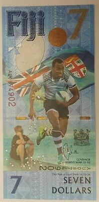 "FIJI  7 Dollars  2017     Commemorative  "" Fiji Rugby 7th Gold Medal Win ""  RARE"