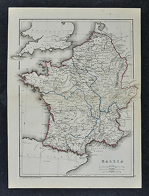 1871 Classical Map - Ancient Gallia France - Gaul Gaule Lutetia Parisii Paris