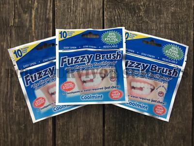 3 x FUZZY BRUSH CHEWABLE TOOTHBRUSH Coolmint Disposable Travel Camping Wash Kit