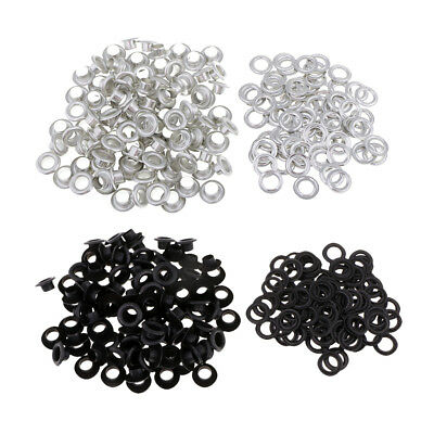 200 Sets Metal Grommets Eyelets with Washers Silver Black DIY Leather Crafts