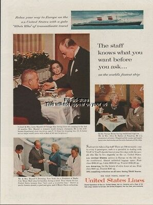 1961 SS United States Cruise Ship Lines Dining Room Navajo Room 1960s Photo Ad