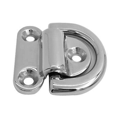 Small Folding Pad Eye Deck Lashing Ring Staple Cleat - 316 Stainless Steel