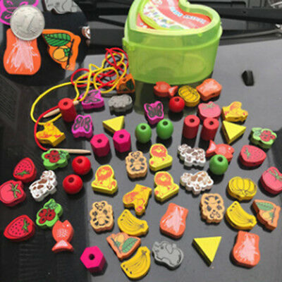 Educational Wooden Bead Accessories Heart Shape Animal Blocks Box Gifts Baby